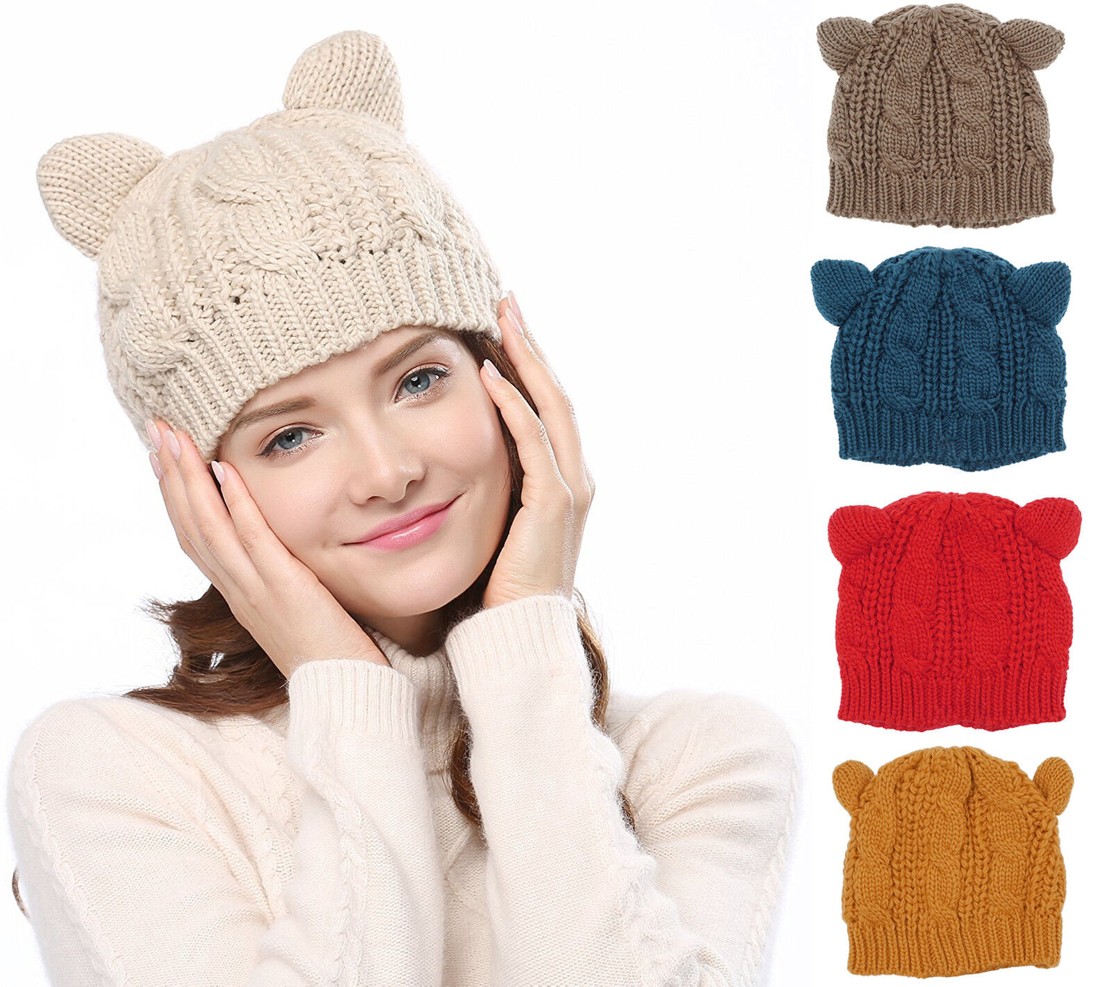 d2d1ab18bbd Kawaii Cute Women s Cat Ears Knit Beanie Hat Crochet Braided Knit Caps  272627932781
