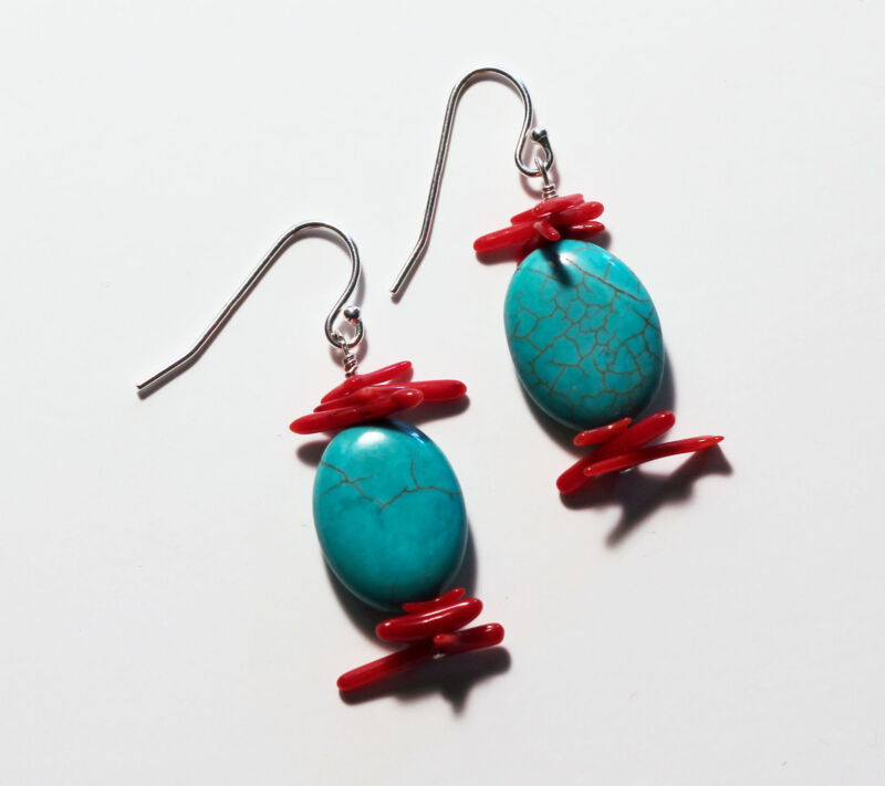Greenwood Designs Turquoise Blue Howlite Red Double Bamboo Coral Earrings