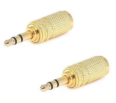 2X Gold 3.5mm Mono Female to 3.5mm Male Stereo Audio Adapter Headphone (Mono Stereo Headphone Adapter)
