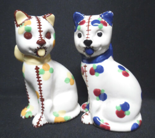 Vintage Japanese-Colorful, Hand Painted Cat, Salt And Pepper Shakers! **SALE!**