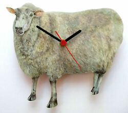 SHEEP HAND MADE WOODEN WALL CLOCK EWE FARM YARD COLLECTION
