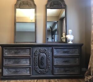 Reclaimed Style Long Dresser and mirrors