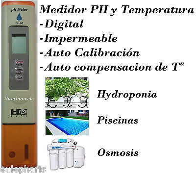 Medidor Digital PH Profesional HM.Impermeable Hidroponia Piscina Acuario Osmosis