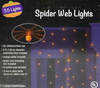 Halloween Spider Web Lights 35 Lights 5 ft Diameter Black Wire NIB