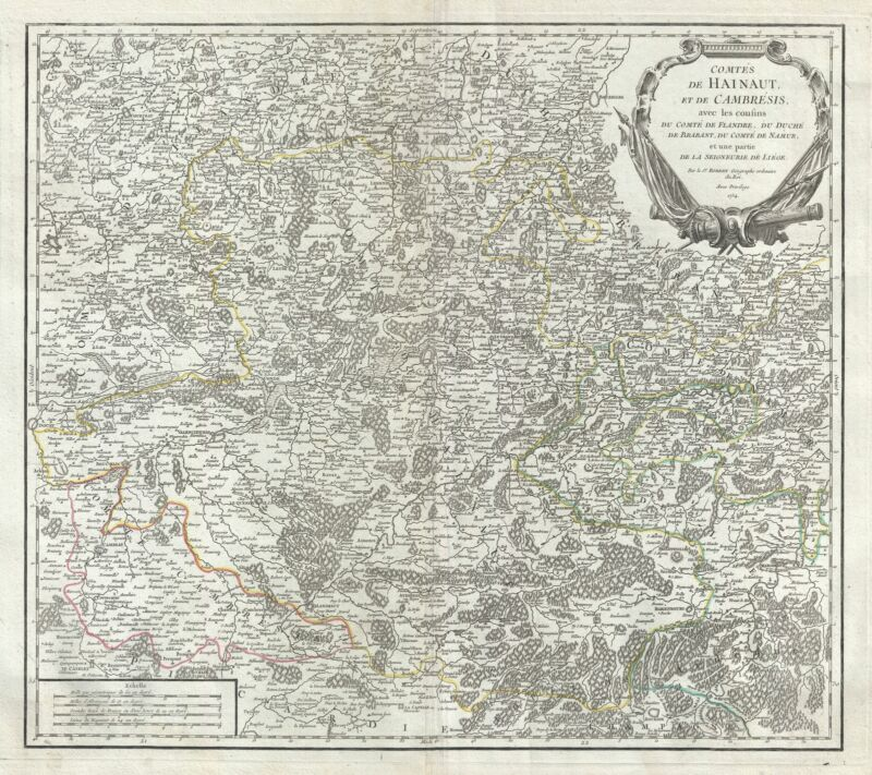 1754 Vaugondy Map of Counties of Hainaut and Cambrai, Belgium and France