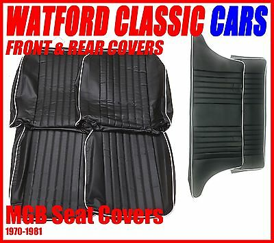 MGB GT Seat Covers Front & Rear 1972-1981 Leather look Black/White