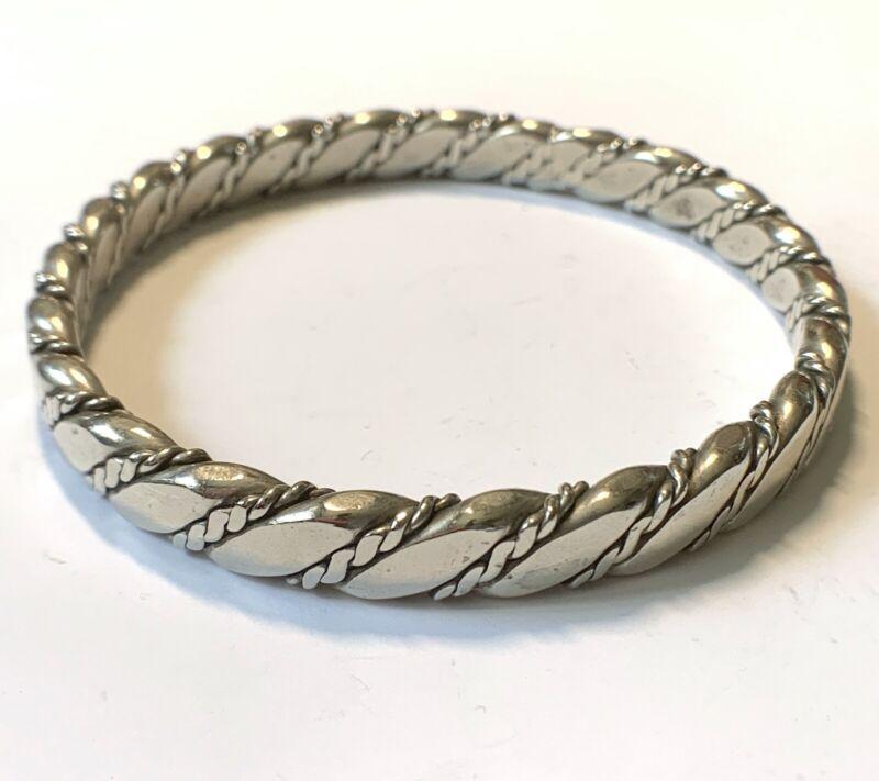 Vintage Thick Heavy Flat Cable Twist Bangle Bracelet Taxco, 57 grams