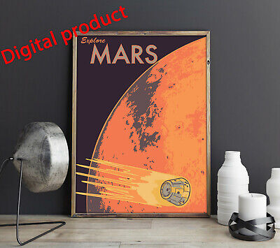 Space Mars Poster Print Wall Picture PRINTABLE Digital Home -