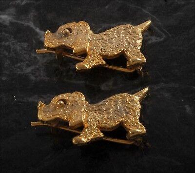 Vintage Hair Barrette Pair Gold Tone Metal Floppy Ear Dog Puppy Hair Accessory