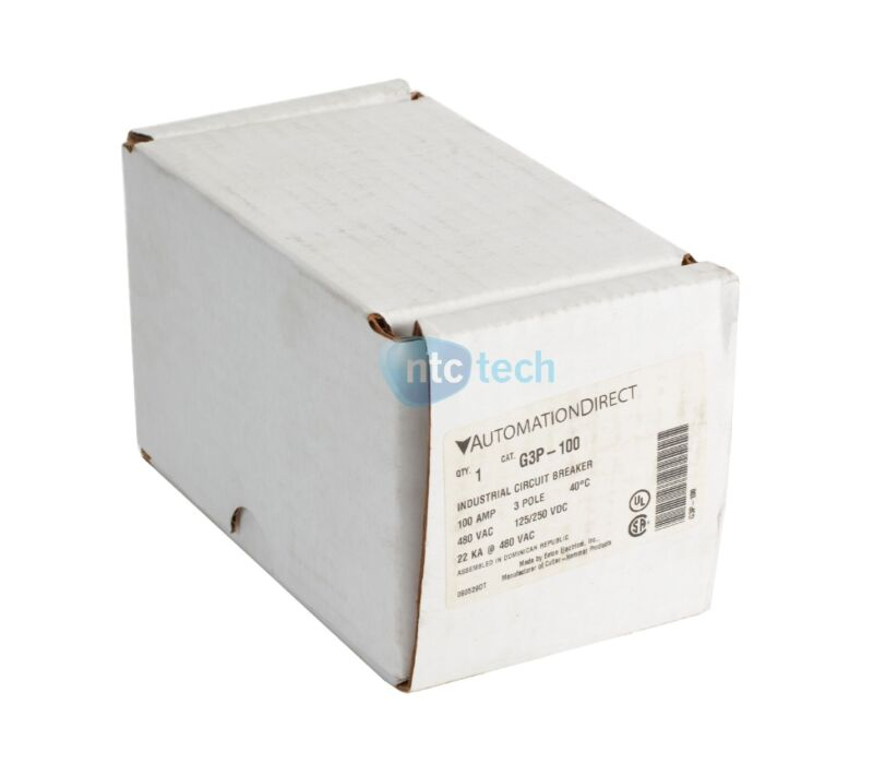 New Automation Direct G3P-100 Industrial Circuit Breaker 100 Amp 3 Pole 480 Vac