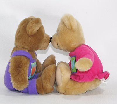 10 Inch Hallmark Kissing Bears Set of 2 Plush Bears Plush Stuffed