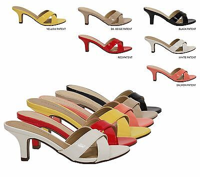 City Classified Contact Womens Low Heel Faux Patent Open Toe Slide Sandals