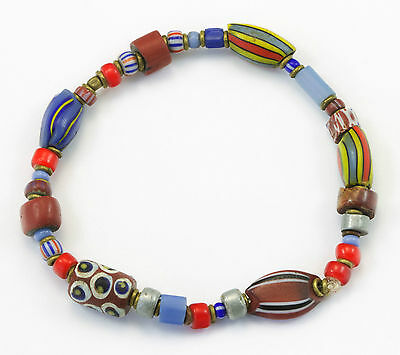 African Trade Bead Bracelet Antique and Vintage Beads Mixed Colors 1