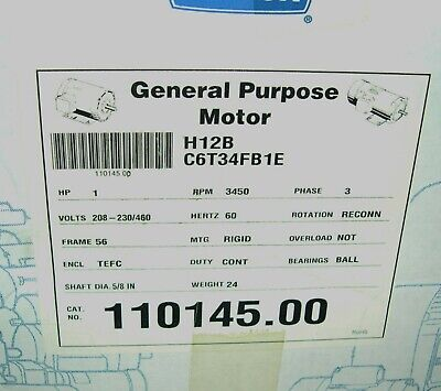Leeson Motor 110145.00 C6t34fb1e 1hp 3450 Rpm Premium Motor New But Old
