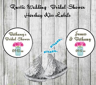 Rustic Wedding Bridal Shower Favors Mason Jar Hershey Kiss Labels SET of 108 - Rustic Bridal Shower Favors