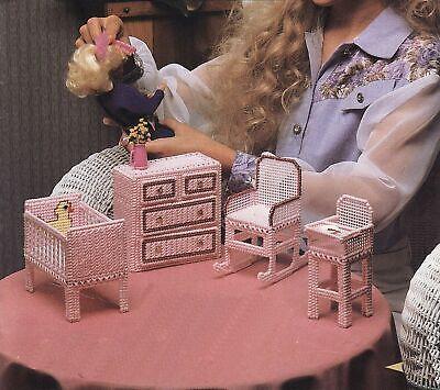 Plastic Canvas Barbie Nursery Crib Dresser Rocker High Chair Critters Pattern