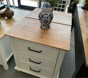 Large Timber and White Bedside Tables