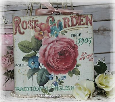 """Rose Garden"" Shabby Chic Mellowed Country Cottage style Wall Decor Sign"