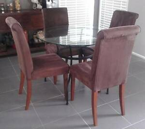Glass Top Table With Suede Chairs. Penrith Penrith Area Preview
