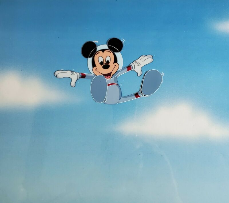 MICKEY MOUSE SPACE ASTRONAUT VINTAGE EPCOT OPENING PRODUCTION ANIMATION CEL wLOA