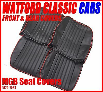 MGB Roadster and GT Pair of Seat Covers 1970 -1981 Leather look Black/Red