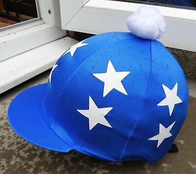 Lycra Skull Cap - Lycra Hat Silk Skull cap Cover ROYAL BLUE * DOUBLE WHITE STARS WithOR w/o Pompom