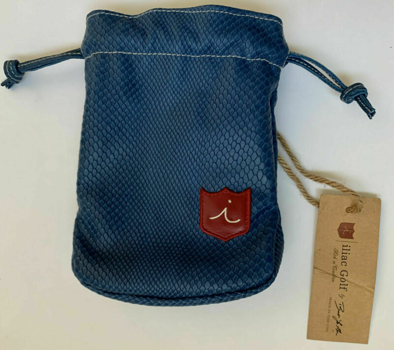 Iliac Golf Blue Leather Valuables Pouch With Pocket Wee Niblick