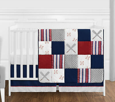 Bumperless Red Blue Baseball Sports Baby Boy Crib Bedding Set Sweet Jojo 4pc Baby Boy Sports Bedding