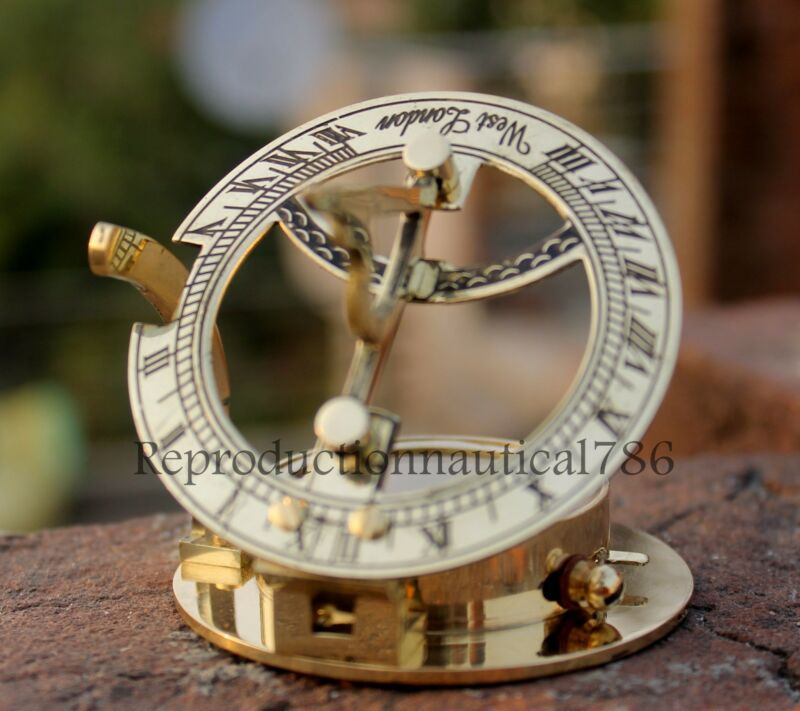 Solid Brass Marine Compass Nautical Mini Pocket Round Sundial Navigation Compass