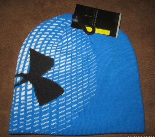 Under Armour Youth Unisex Glow in the Dark Blue Knit Beanie; New