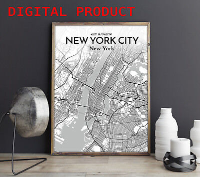 (NEW YORK CITY MAP Poster Print Wall Picture PRINTABLE Digital Home Decor)