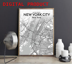 NEW YORK CITY MAP Poster Print Wall Picture PRINTABLE Digital Home Decor