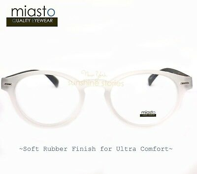"""MIASTO """"CIAO ITALY"""" PREPPY ROUND KEYHOLE READER READING GLASSES SPECS+2.75 WHITE"""