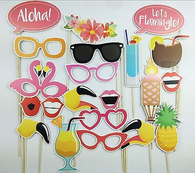 21PCS Flamingo Summer Birthday Party Masks Photo Booth Props Mustache On A Stick - Photo Booth Sticks