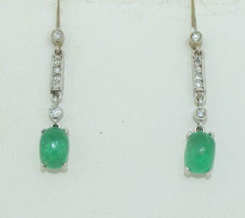 Art Deco 18K White Gold Emerald & Diamond Earrings