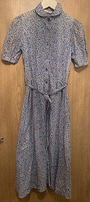 Vintage 1970s Laura Ashley Midi Blue Floral Collar Tie Waist Tea Dress UK8-10