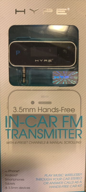 New Hype In-Car FM Transmitter 3.5mm Hands-Free for iPhone + Android Phones