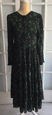 NWOT Zara Black Green PRINTED DRESS Floral Oversized  Long Sleeves Size L #1938