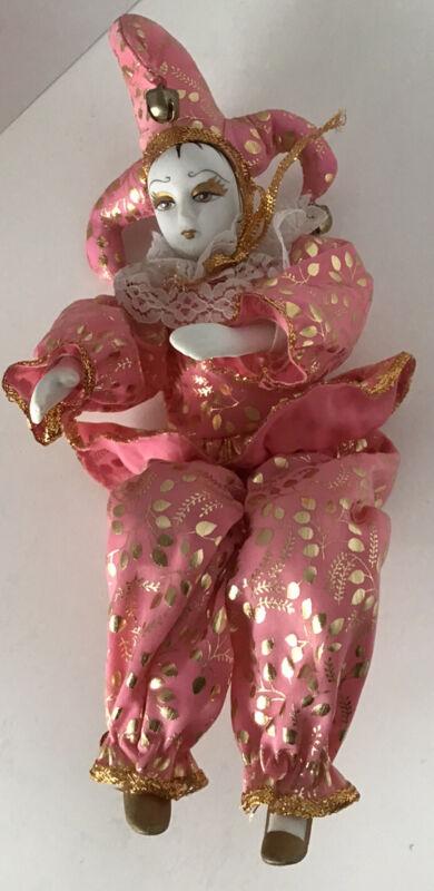 Vintage Porcelain Jester Clown Doll Figurine