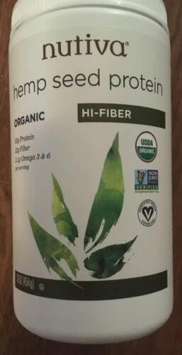 Nutiva Organic Superfood Hemp Seed Protein Hi-Fiber Organic 16 oz exp-10/24/21