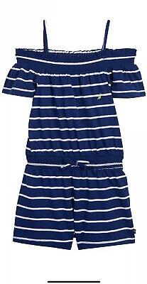 NEW NWT Nautica Girls Striped Romper Deep Navy Stripe Size 4T MSRP $36