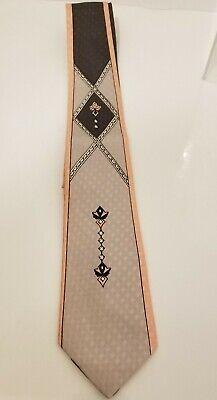 1950s Men's Ties, Bow Ties – Vintage, Skinny, Knit 1950s Vtg Esquire Cravat Tie narrow Geometric pink gray deco approx 2.5 x 52 $55.00 AT vintagedancer.com