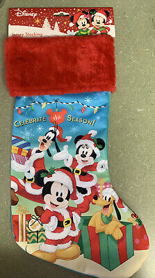 Disney Mickey Mouse & Friends Christmas jersey Stocking Plush New