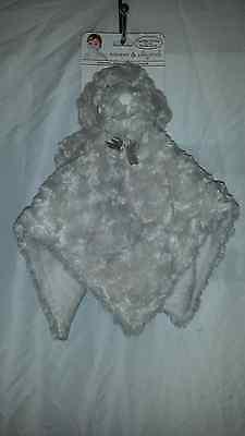 BLANKETS & BEYOND GRAY WHITE PUPPY DOG HOLDER BABY SECURITY LOVIE LOVEY NUNU~NWT