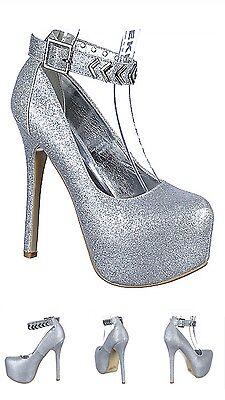 Toe Prom High Heel Pump (Wedding Prom Close Toe ankle strap Platform Exotic Stiletto high Heel Pumps H11 )