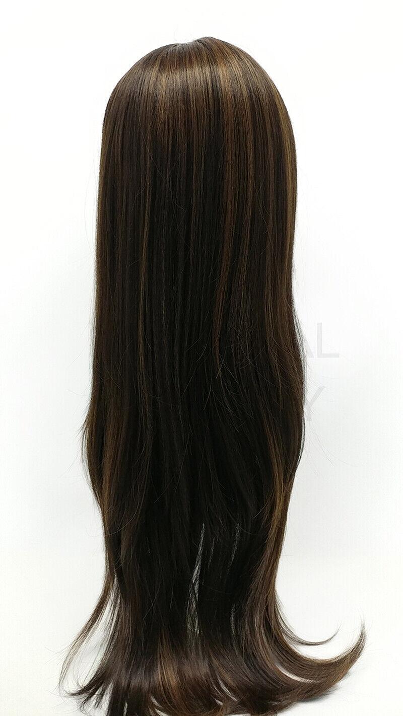 Heat Resistant Long Straight Wig Full Bangs Dark Brown Highlights 26  - $49.99