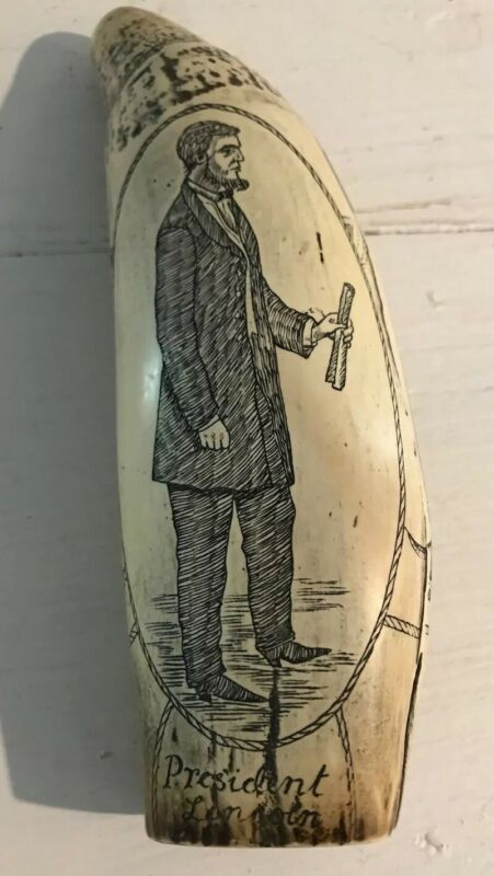 Vintage Scrimshaw Reproduction Resin The Southern Star President Lincoln
