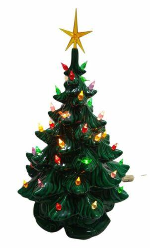 "Vintage Ceramic LIGHTED Christmas Tree & Base 16"" Atlantic mold 1971  EXC COND"