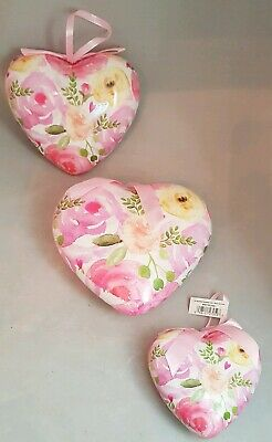 Large Valentine Heart Ornament Set 3 Decoupage Rose Flower Pink Decor (Decoupage Halloween Decorations)