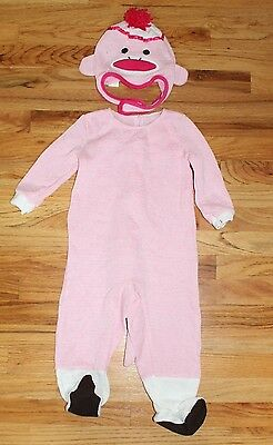 NWT Girls Pink Cracker Barrel Sock Monkey 2pc Halloween Costume & Hat sz 18-24m